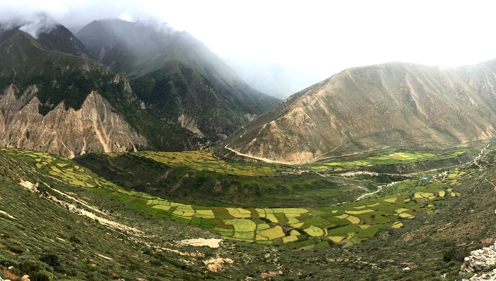 Yari village and valley below the trail. The trail today grows more desolate and rocky.