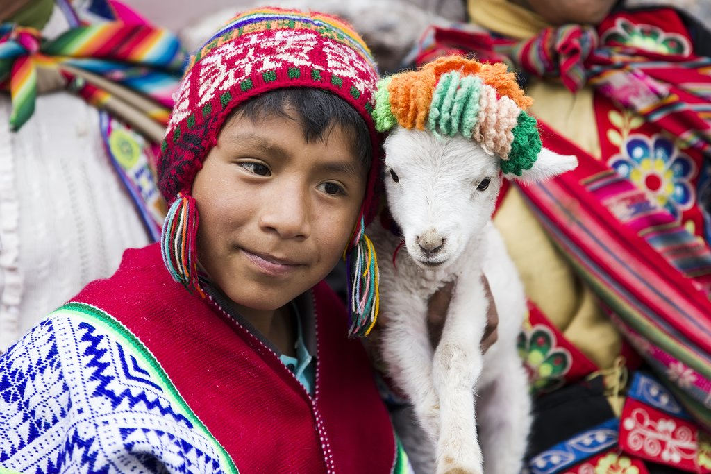 Young boy with Alpaca in Cusco