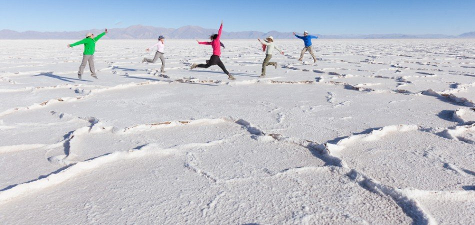 Frolicking on the vast white expanse of the Salinas Grandes