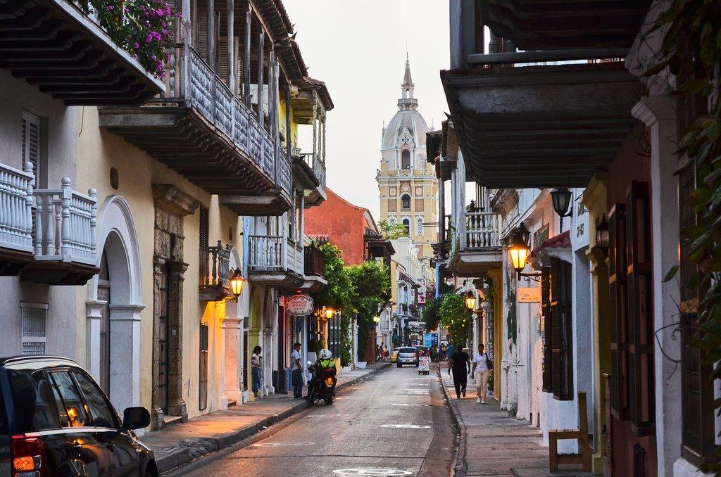 Narrow streets of Cartagena have flowering balconies.