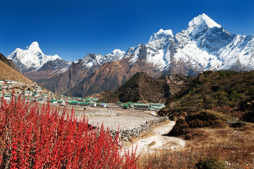 Khumjung village and Ama Dablam, Kangtega, and Thamserku