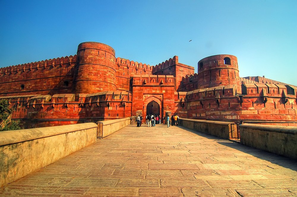 The Red Fort of Agra, a stunning architectural display of the Rajput and Mughal architectural styles
