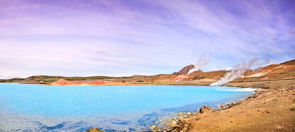 Steam rises over Lake Myvatn, in the north of Iceland