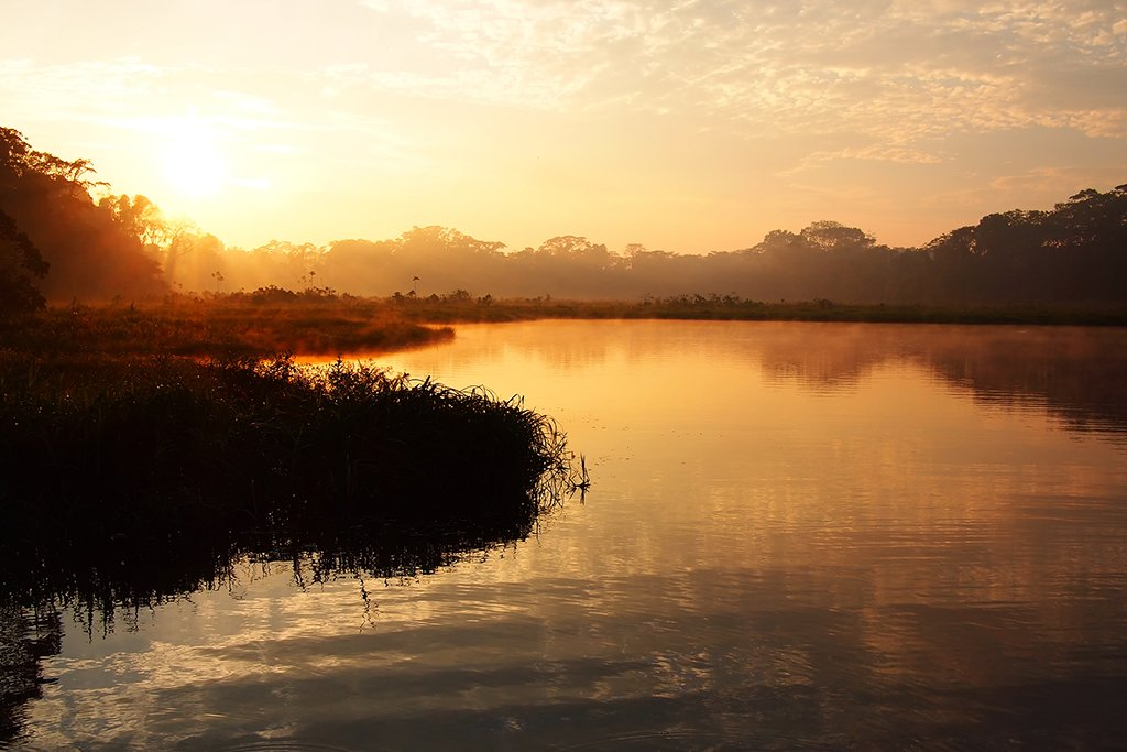 Tambopata River at sunrise in the Peruvian Amazon