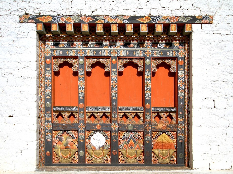Ornately decorated traditional windows