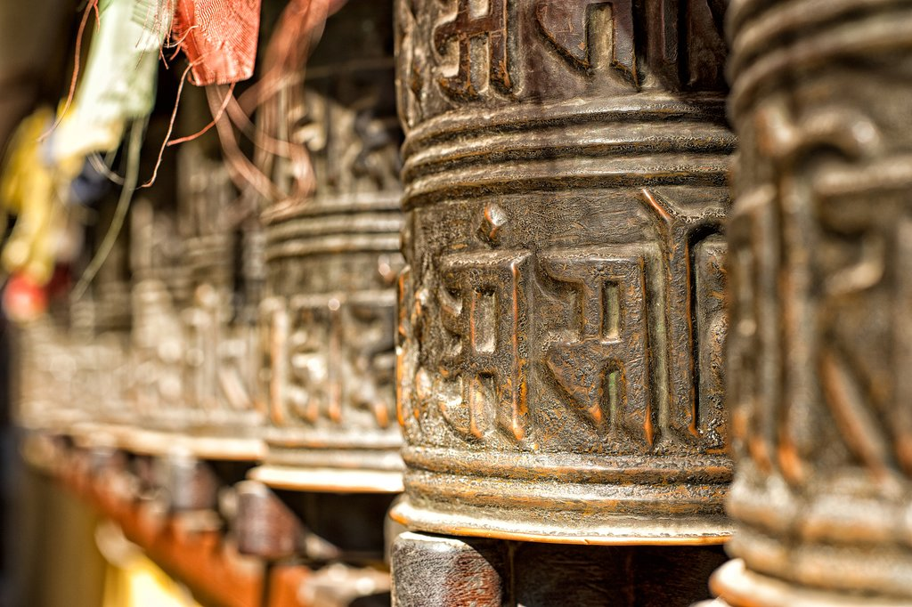 Prayer wheels at Boudhanath