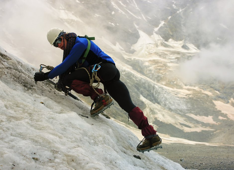 Ice axe and glacier climbing