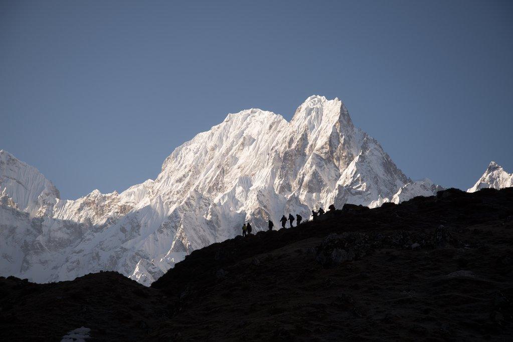 Looking back towards the Manaslu range from Bimtang