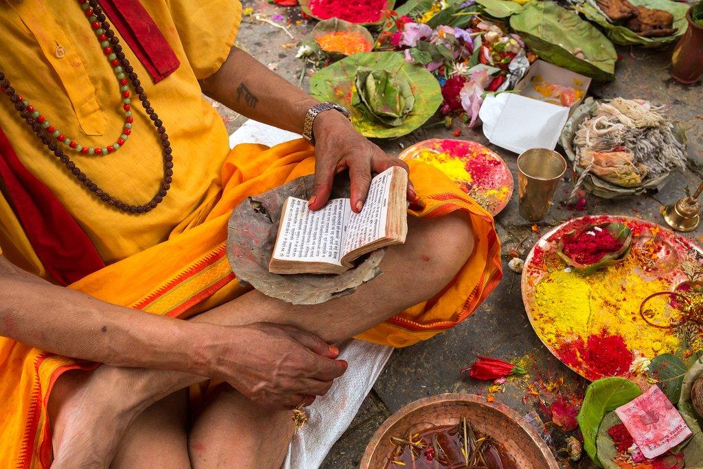 A Brahmin priest doing a Hindu puja in Kathmandu