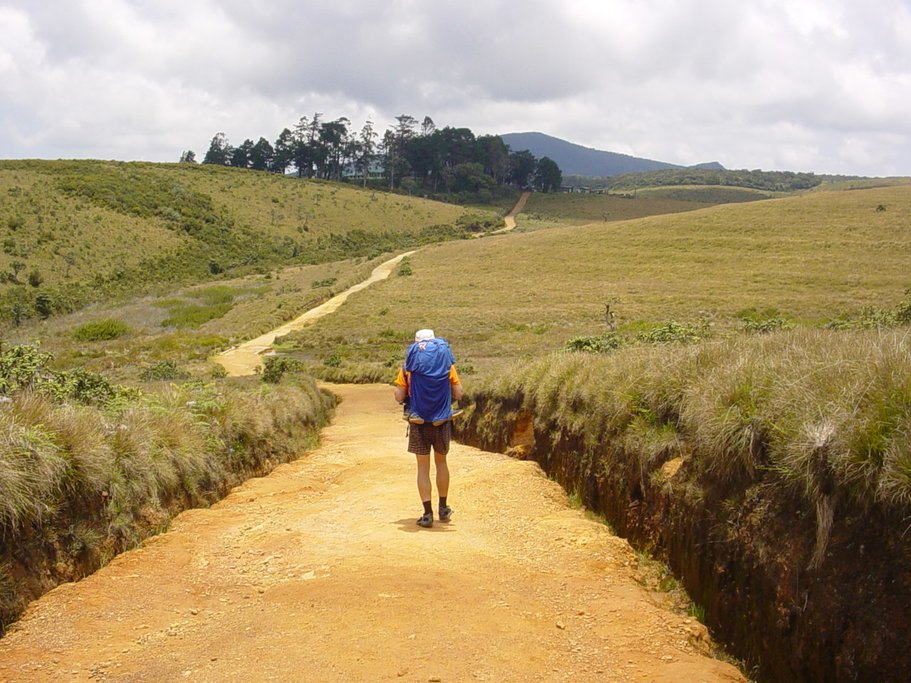 A hiker travels along a trail in the Horton Plains, a protect area in the central highlands of Sri Lanka.