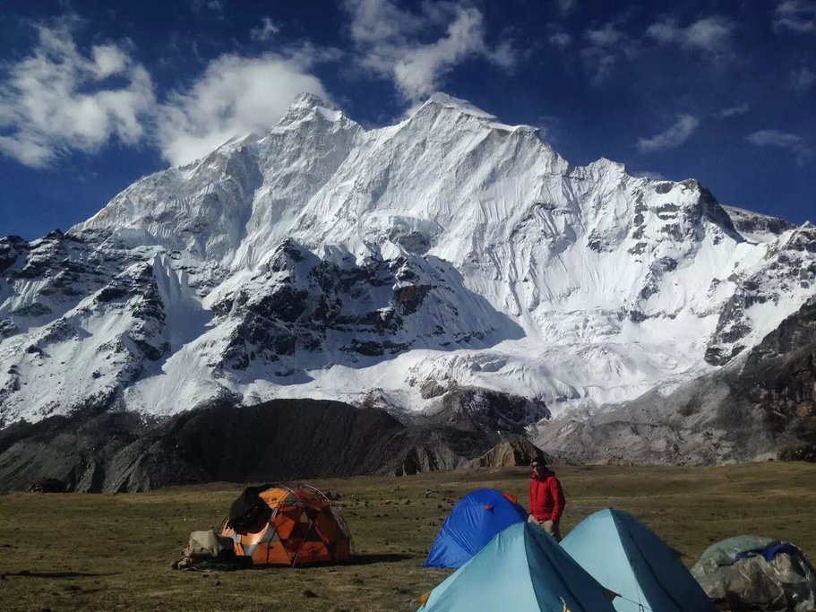 The 3rd Everest Base Camp below the sheer East Face of Everest in Kangshung Valley