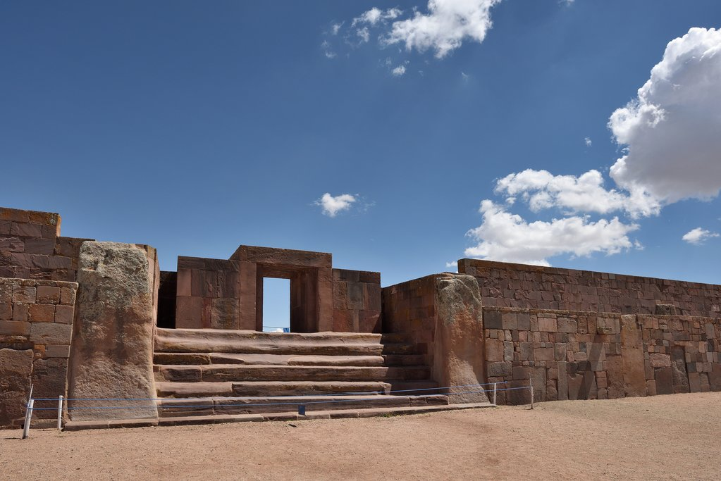 Tiwanaku, a Pre-Columbian archaeological site in western Bolivia.