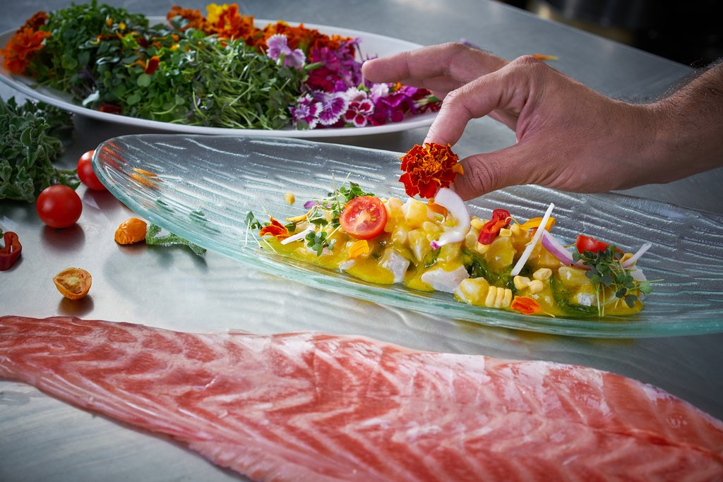 Preparing ceviche during a cooking class with a Peruvian chef