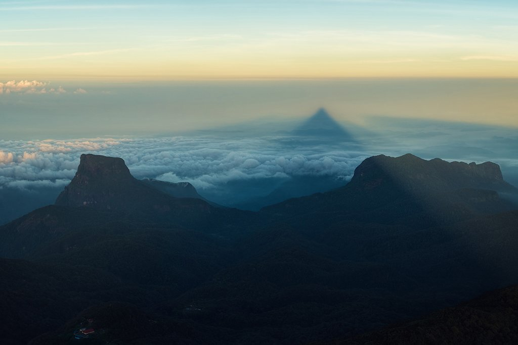 Triangular Shadow of Adam's Peak at Sunrise, Sri Lanka