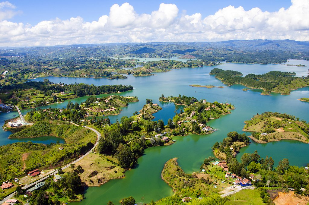An aerial view of this lakeside region.