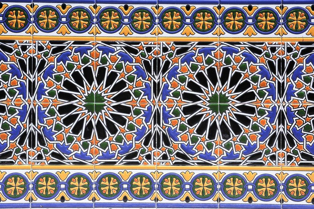 Colorful tiles in Mendoza's main plaza