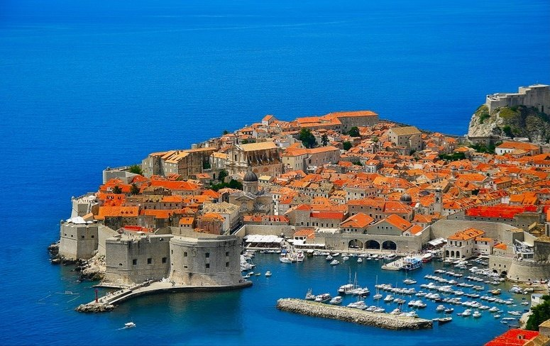 Famous Dubrovnik as seen from above