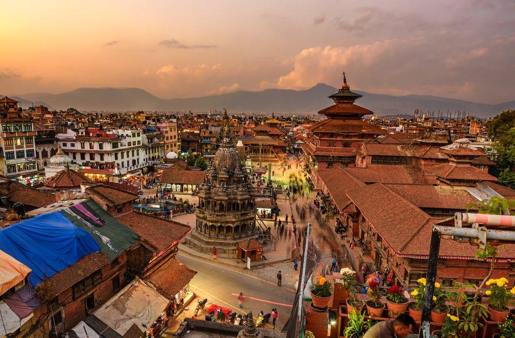 Aerial view of Kathmandu at dusk