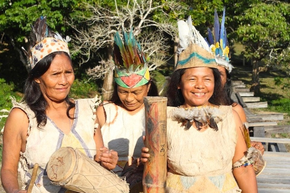 Ticuna women in Loma Linda perform a traditional dance