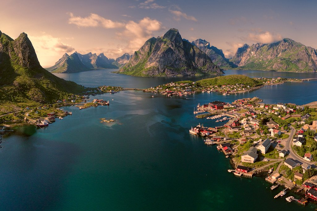 The fishing town Reine and surrounding fjords on Lofoten Islands