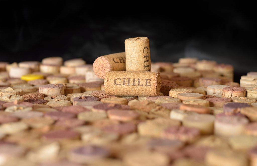 A pile of corks bearing the stamp of Chile's thriving wine industry.