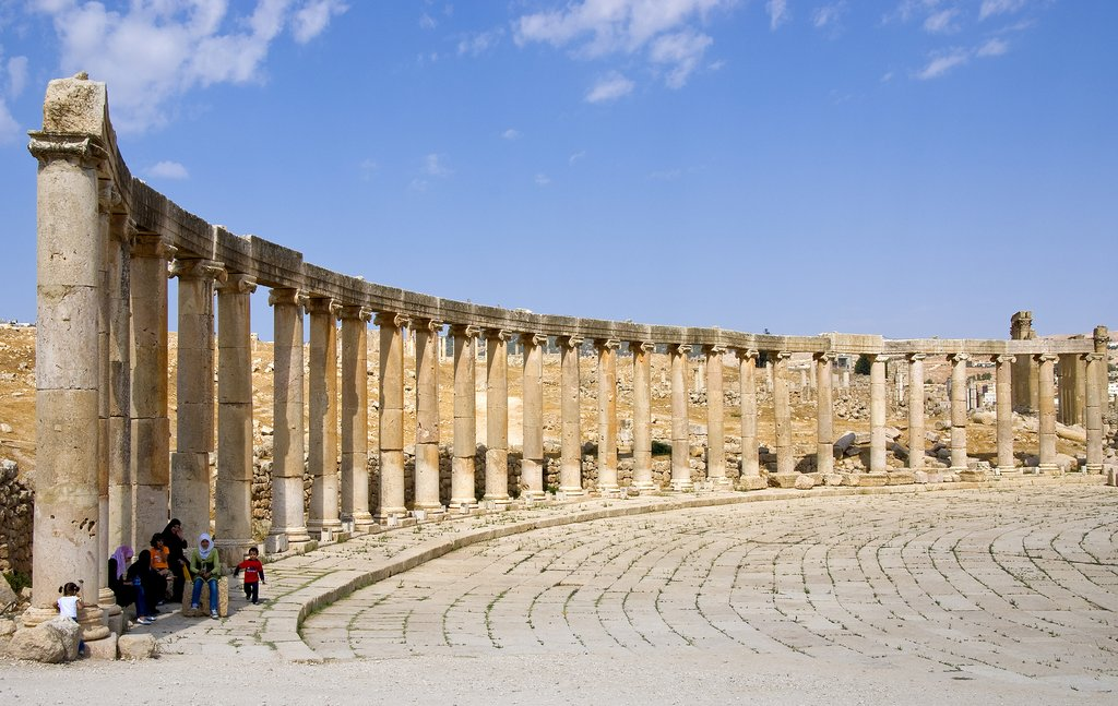 The ancient ruins of Jerash