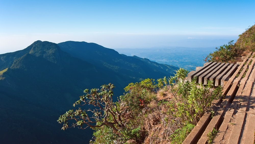 A Sri Lankan viewing platform looks out over the mountains