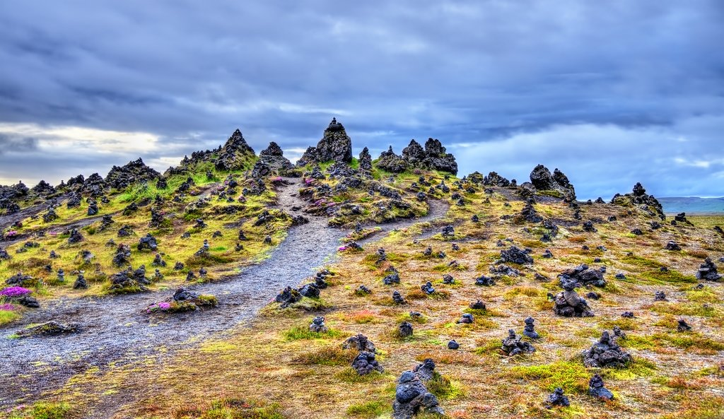"""Fortune Stones"" at the Laufskálavarða Lava Ridge, in the south of Iceland"