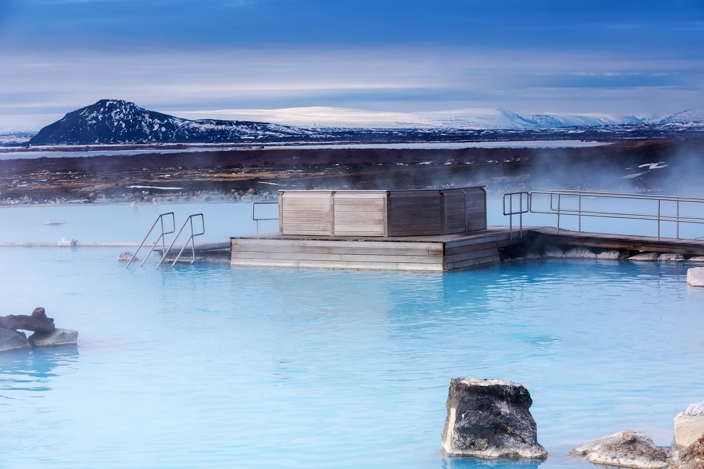 Milky-blue waters of the Myvatn Nature Baths in Northern Iceland