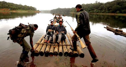 Float along and take in the sights on a bamboo raft