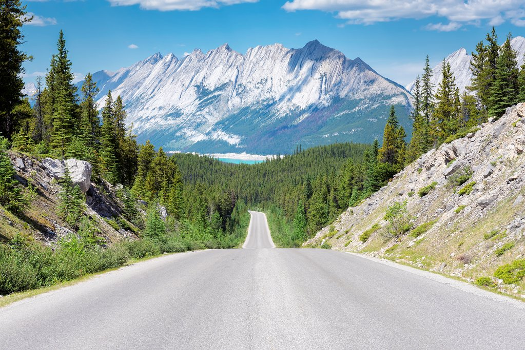 Highway through Jasper National Park