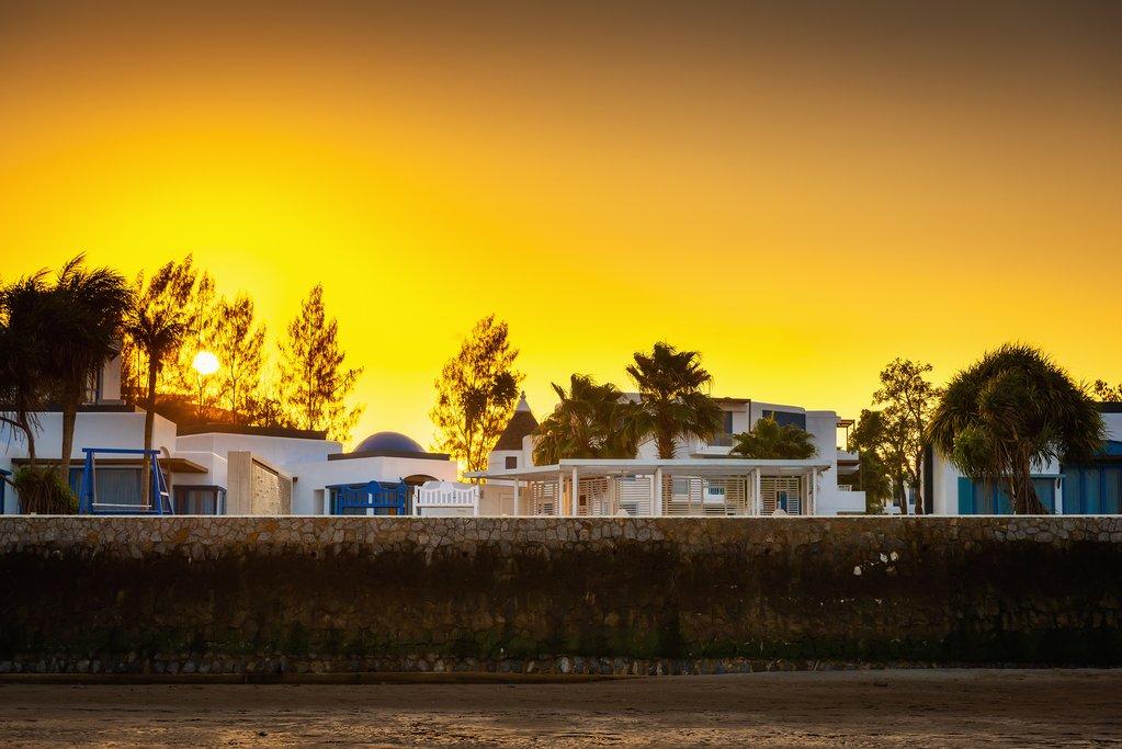 Santorini homes at sunset