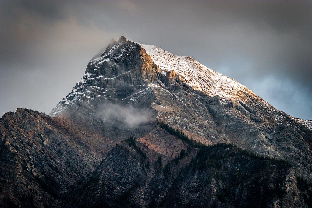 Fresh snow on a sunlit peak in the Canadian Rockies