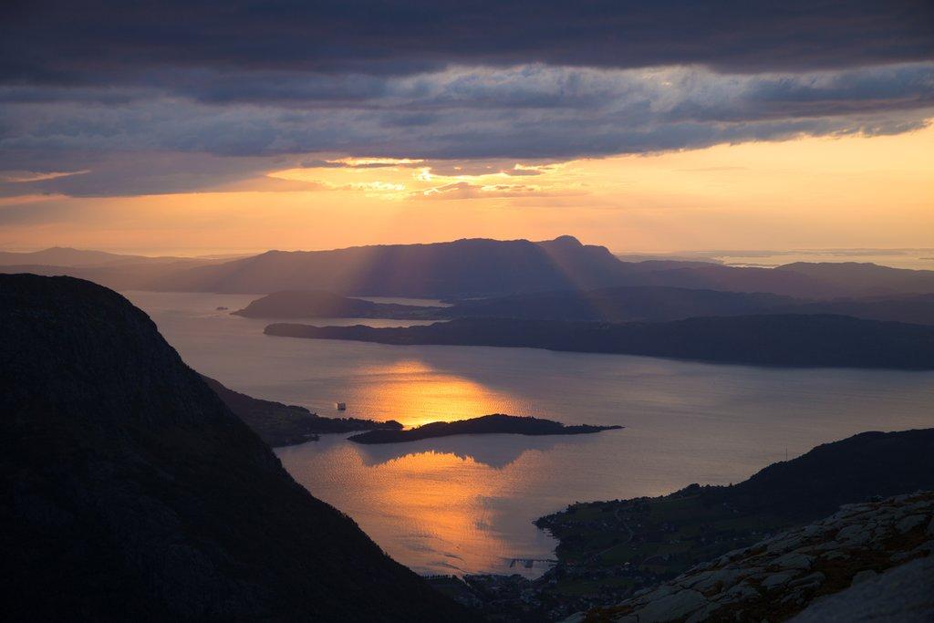 Sunset over the fjords in the Hardanger region