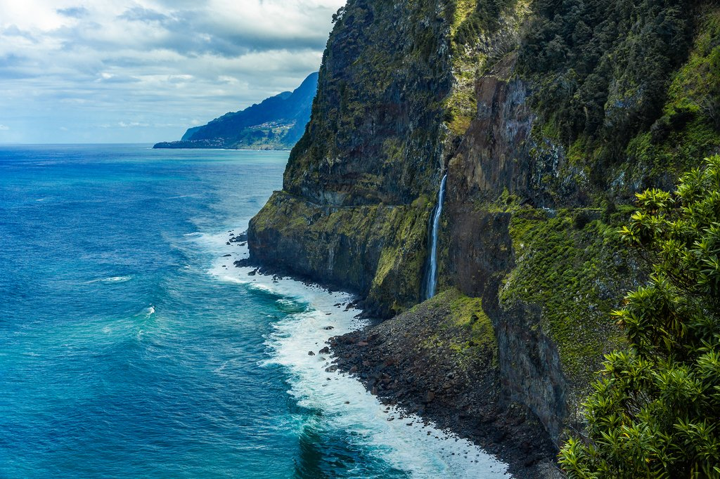 Ponta do Poiso waterfall on the north coast of the Madeira, Portugal