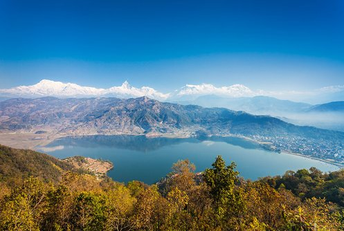 Phewa Lake with the city of Pokhara on the right