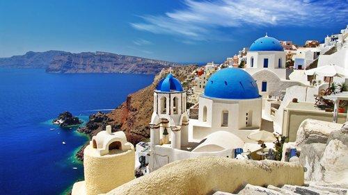 The iconic domes of Santorini