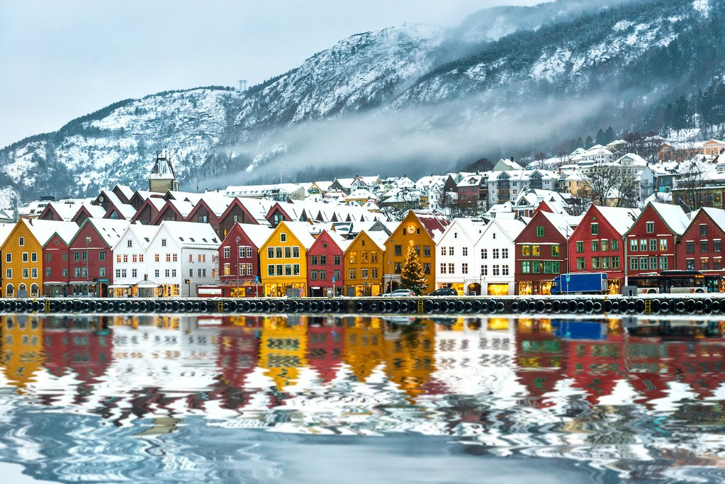 Bergen's UNESCO-listed waterfront after a snowfall.