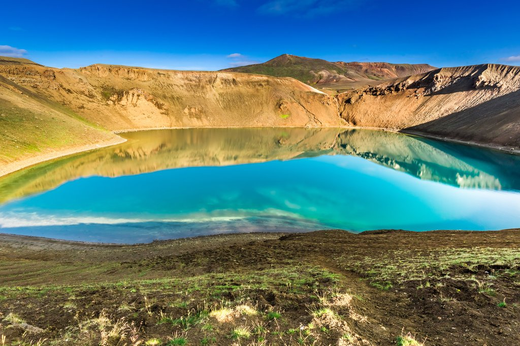 North Iceland's Viti crater is filled with a bright blue lake