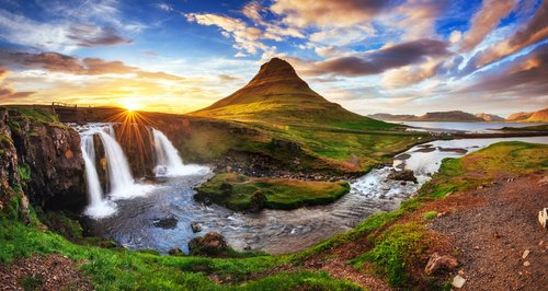 Kirkjufell's landscape and waterfalls on the west coast