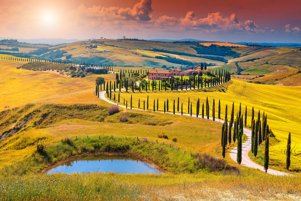 A walking path through the Tuscan countryside