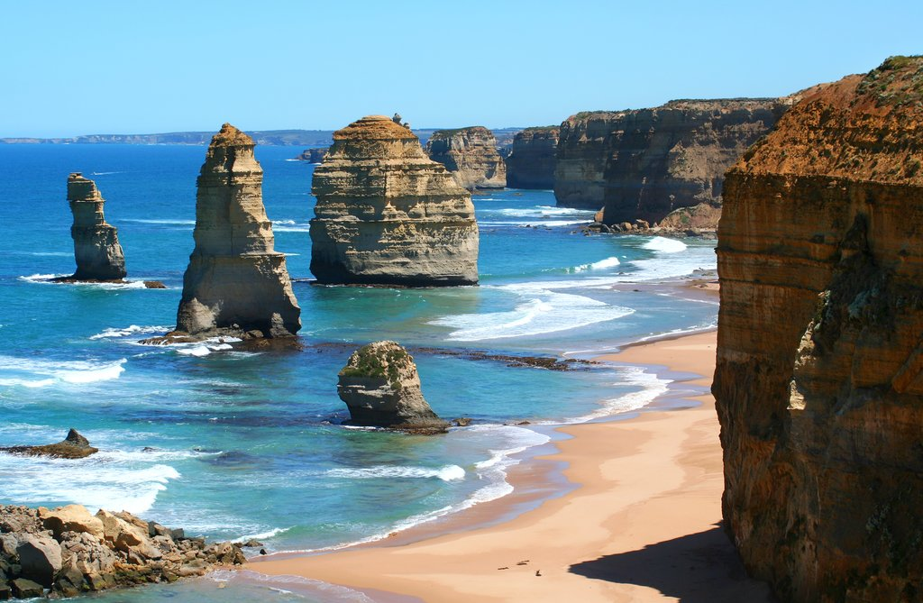 Stop to check out the iconic Twelve Apostles along the Great Ocean Road
