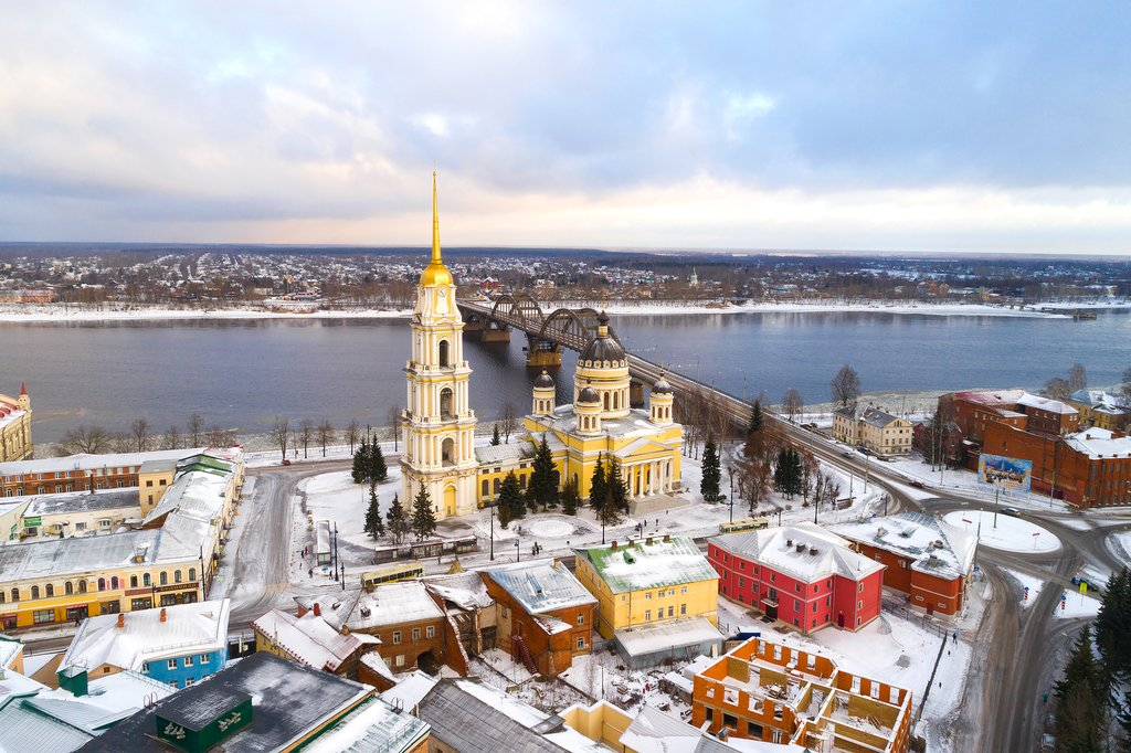 Transfiguration Cathedral in Rybinsk on a January morning