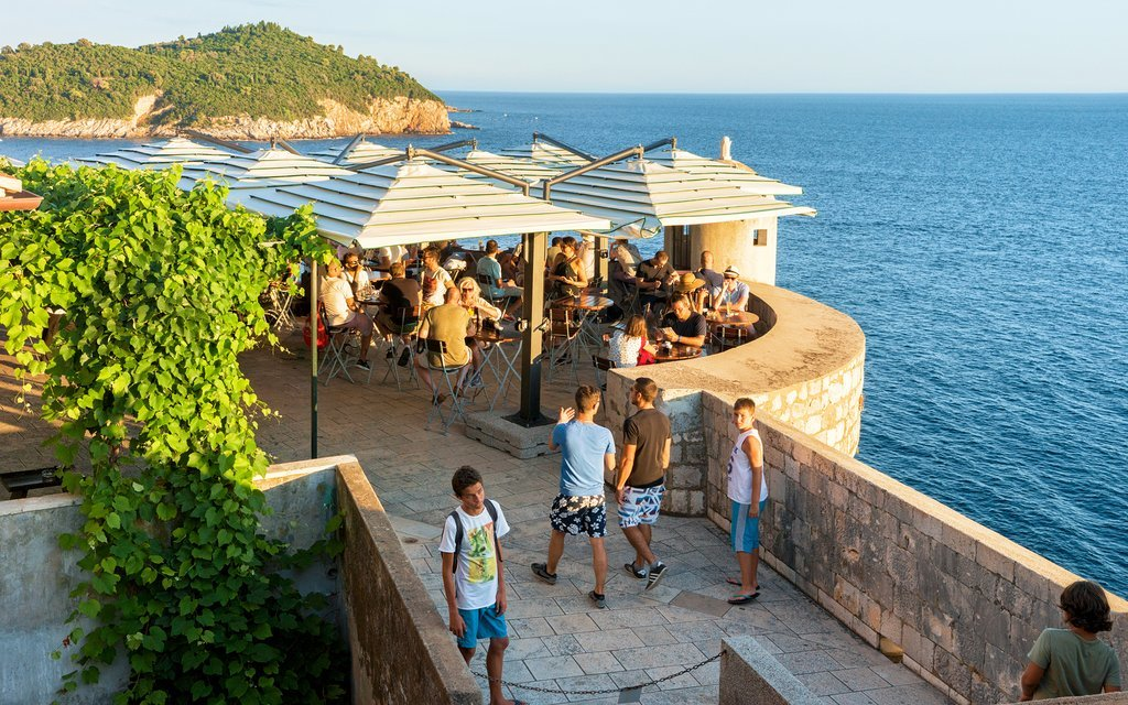 Cliffside café in Dubrovnik