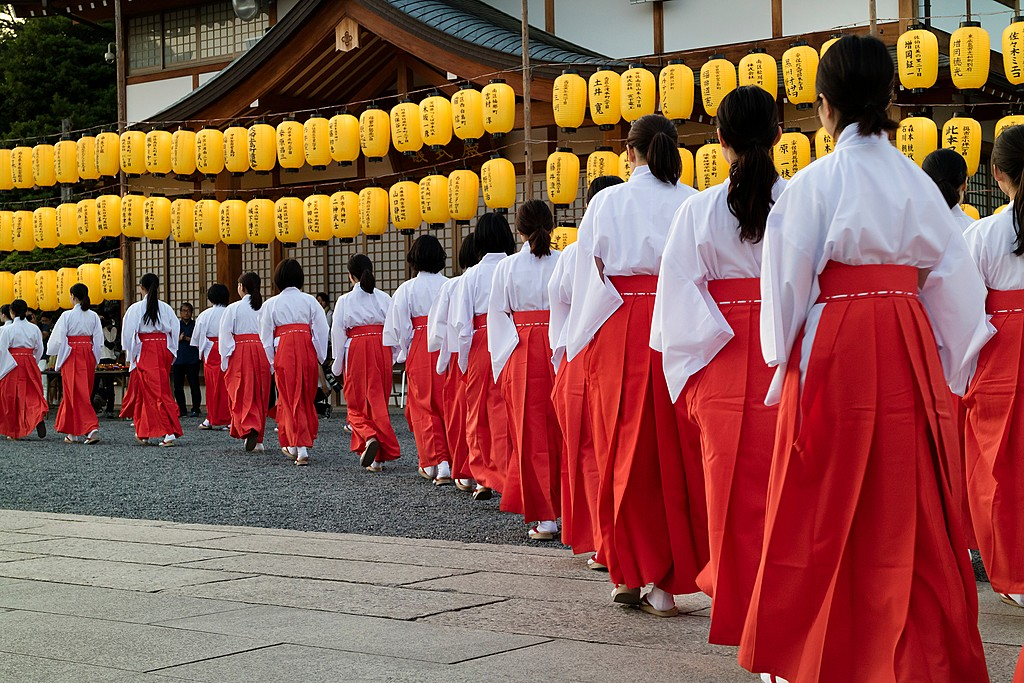 Young women preparing to dance at a Hiroshima festival
