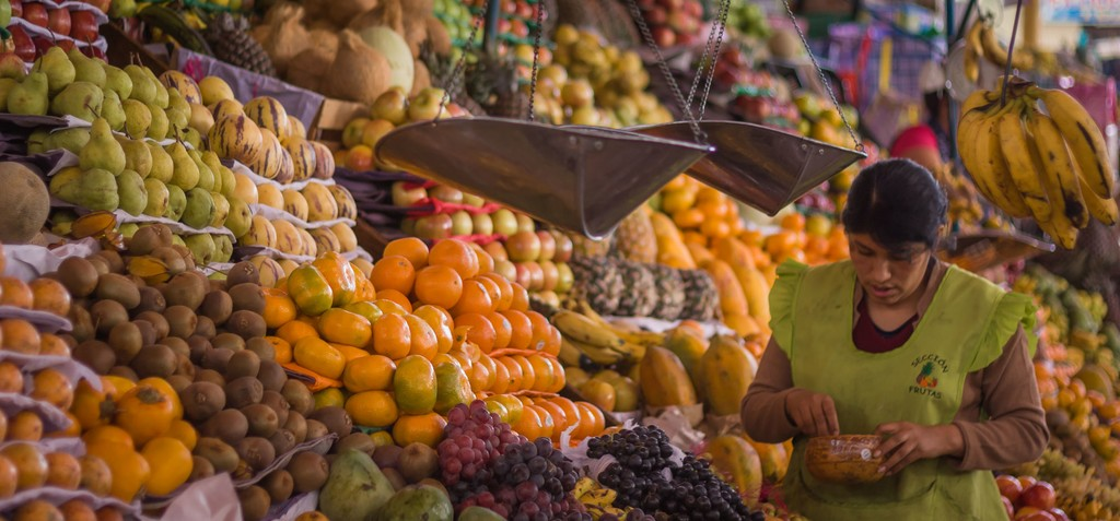 Freshness and flavors on display at a Peruvian produce market