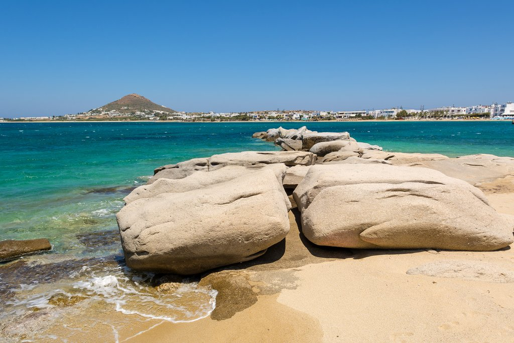 Rock formations on Agia Anna beach in Naxos