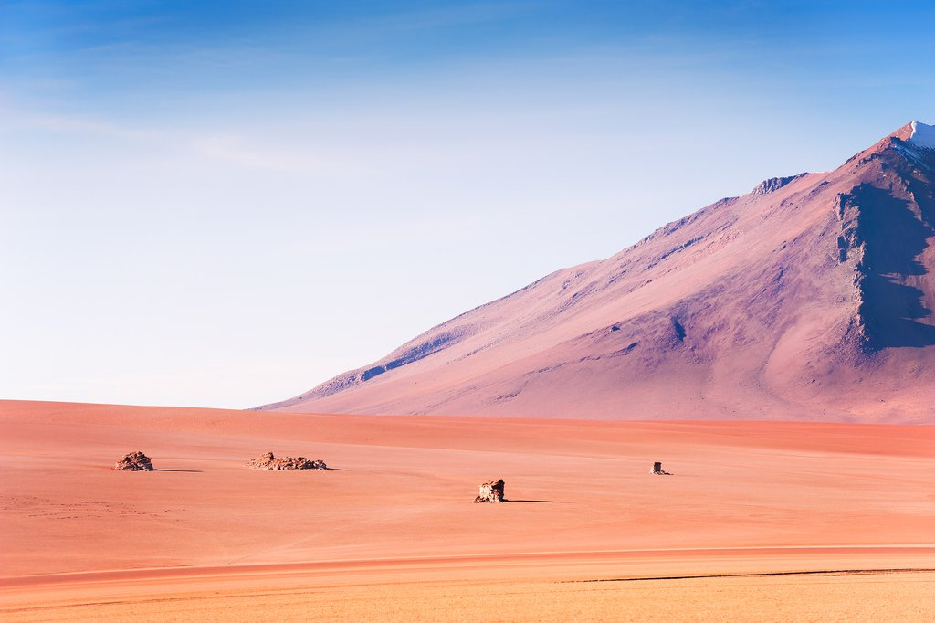 Volcanoes in the desert on plateau Altiplano, Bolivia