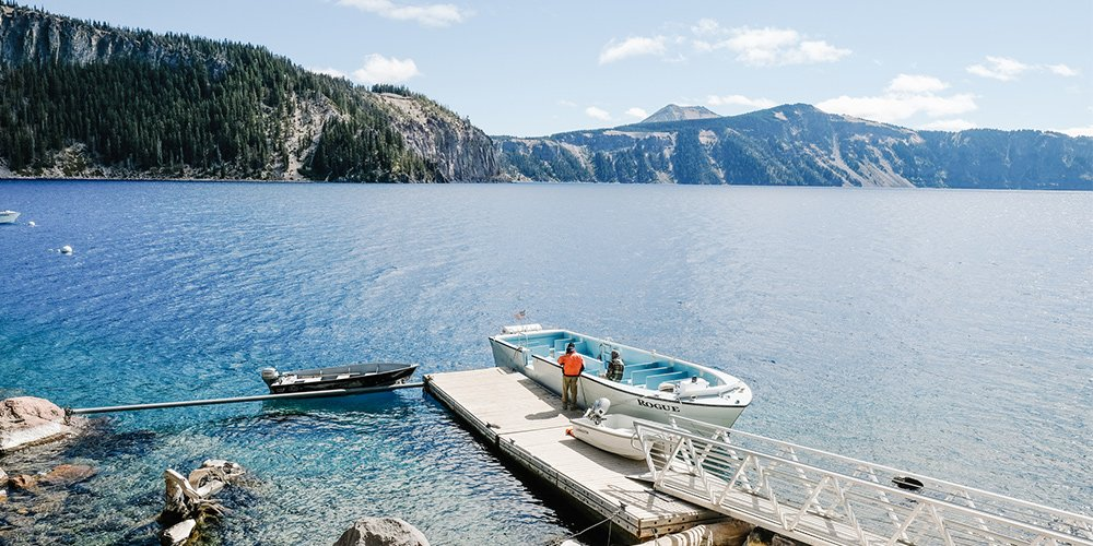 Boat dock on Crater Lake