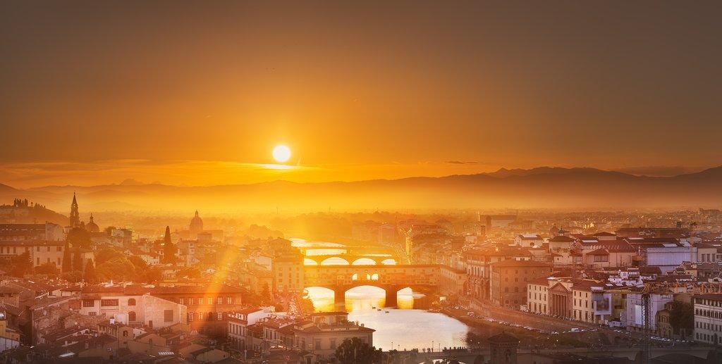 Arno River & Ponte Vecchio in Florence